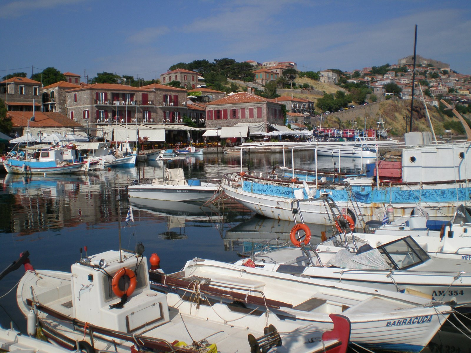 ... of where I was staying while reading these novels; Molyvos, in Lesbos.