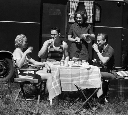 1930s Two Couples Eating Picnic Lunch Beside Camping Trailer