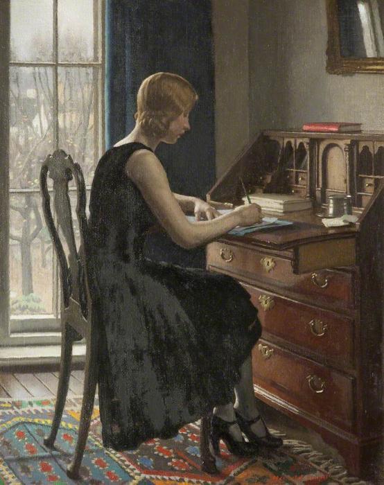 Harold-Knight-Girl-Writing